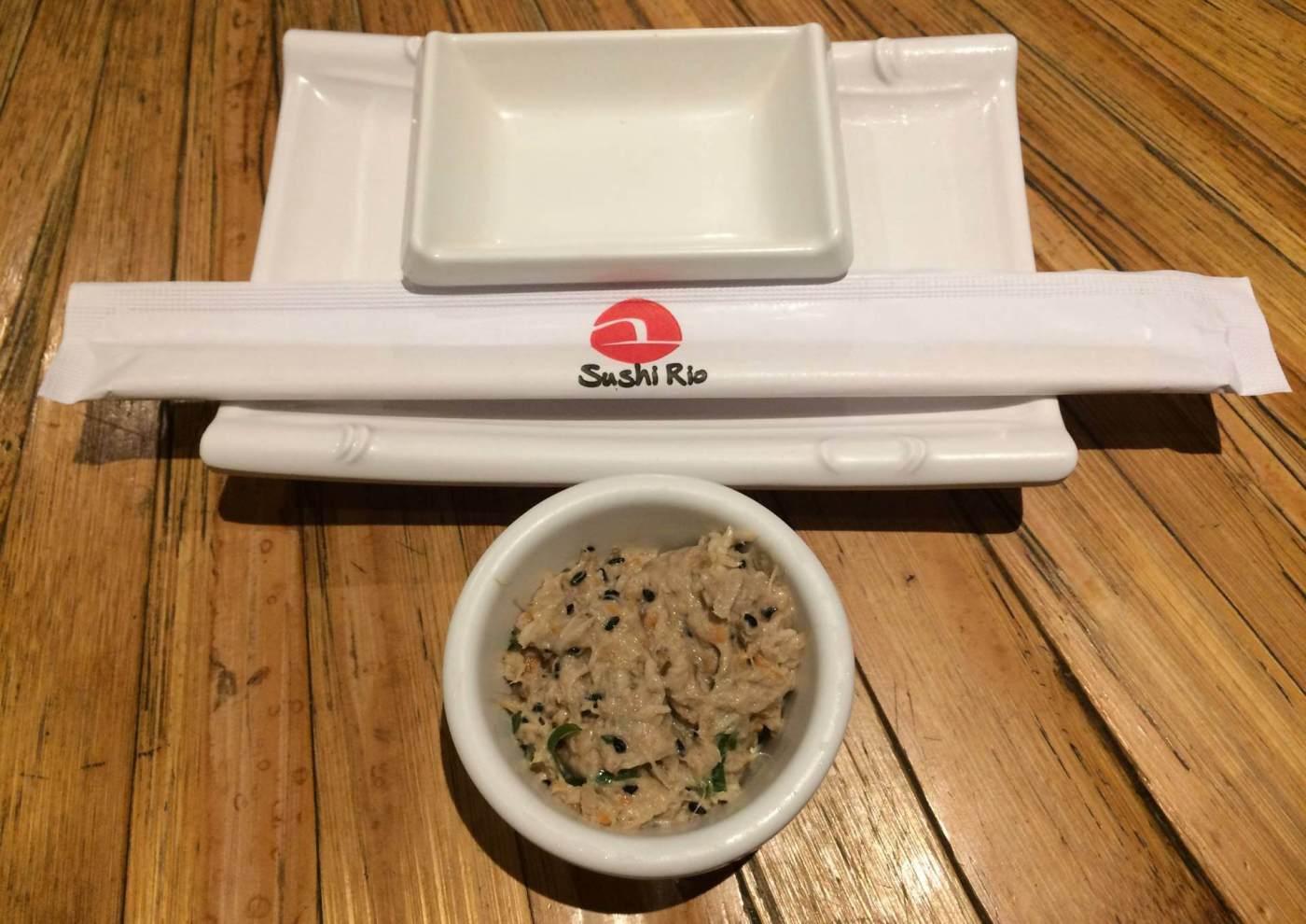 Prato de boas vindas do Restaurante Sushi Rio com os3fominhas