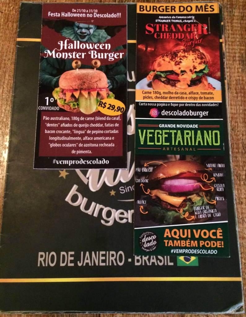 Hamburgueria Descolado frente do cardápio com novos hamburgueres