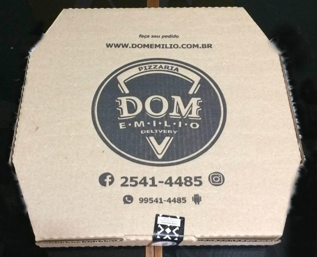 embalagem da pizzaria Dom Emilio com os3fominhas