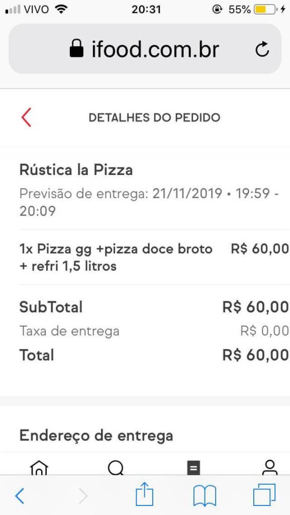 print do pedido da pizzaria Rustica com os3fominhas