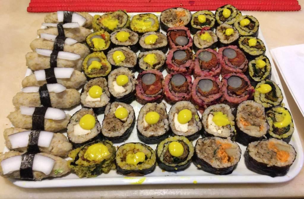 sushis vegetarianos refeitório orgânico com os3fominhas