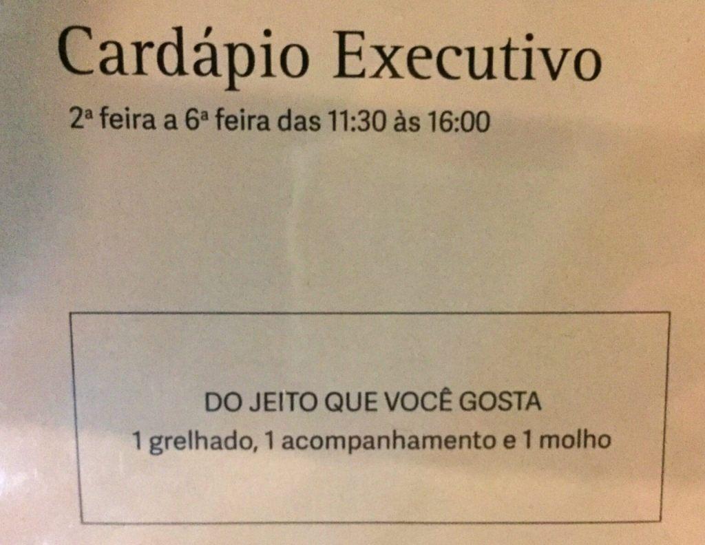 informação do cardápio executivo do Joaquina com os3fominhas
