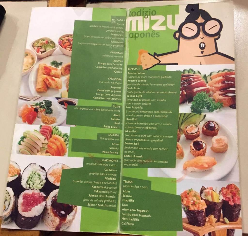 cardápio japonês do Restaurante Mizu com os3fominhas