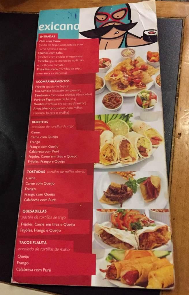 cardápio mexicano do Restaurante Mizu com os3fominhas