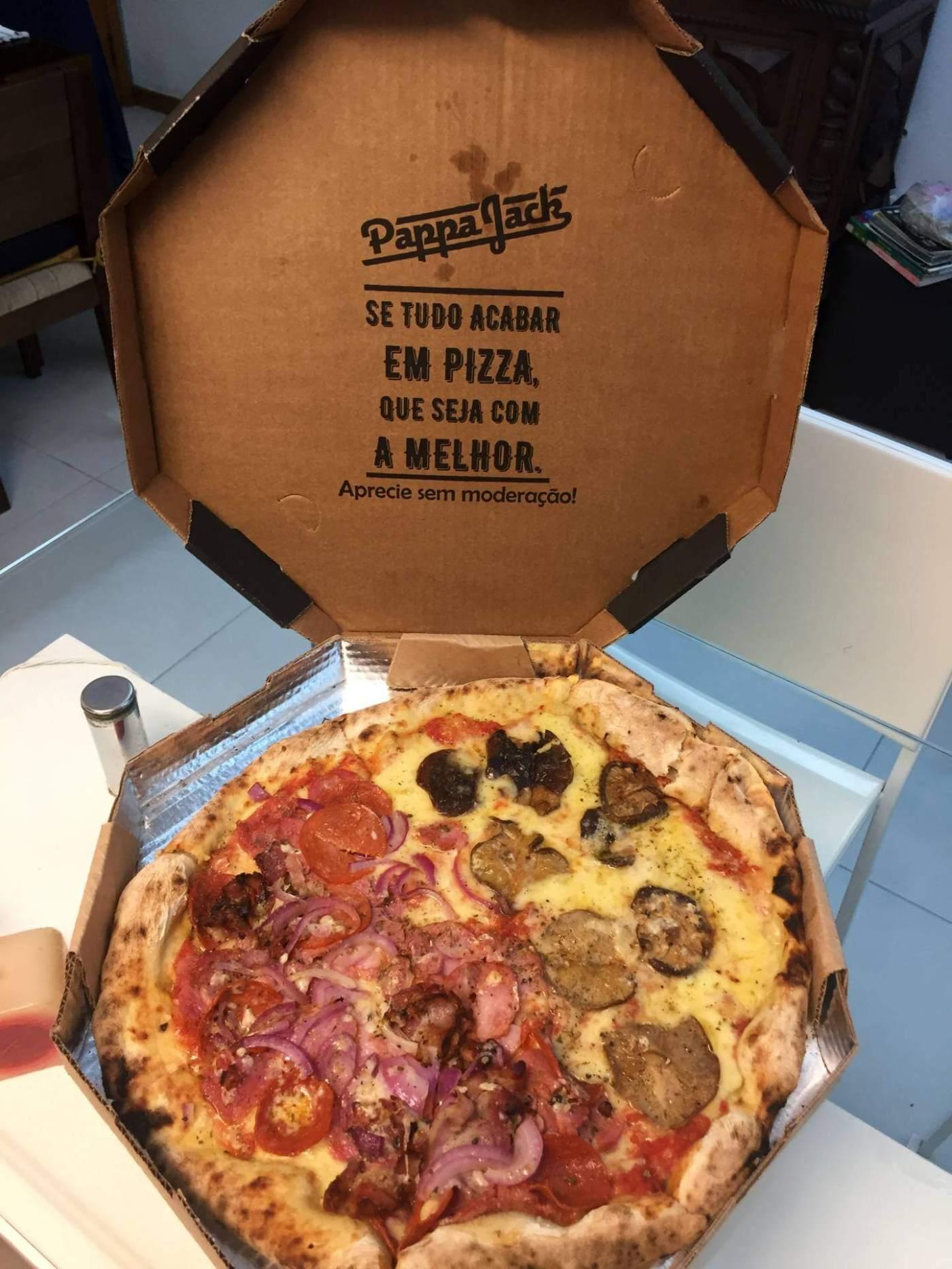 pizza na embalagem do Pappa Jack com os3fominhas