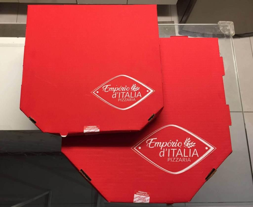 embalage de pizza do Empório DItália com os3fominhas