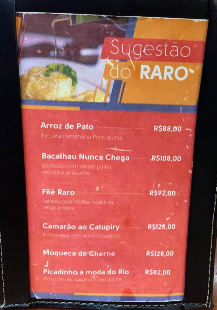 cardápio sugestão do Raro Bar e Grill com os3fominhas