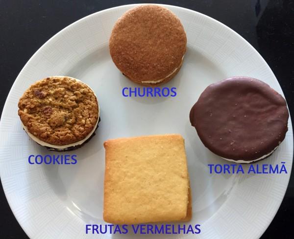 sorvete de churros, cookies, torta alemã e frutas vermelhas da Iceburger com os3fominhas